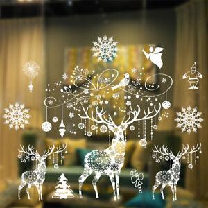 Weihnachten-Elk-Fenster-Glas-Sticker-Ornament-DIY-Home-Xmas-Party-Deko-Big-Size