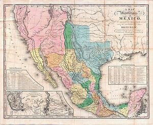 image is loading 1846 mexico with texas republic era old map