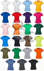 Ladies-Plain-T-Shirt-100-Cotton-Size-6-8-10-12-14-16-18-20-22-24-Top-Tee