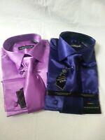 Mansenee Men's Shiny Satin Fashion French Cuff Dress Shirt W/ Tie, Hanky