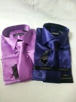 Mansenee Men's Shiny Satin Fashion French Cuff Dress Shirt W/ Tie, Hanky