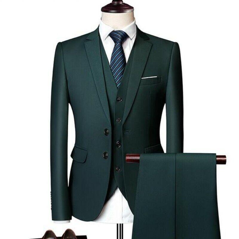 Men Spring Two Button Slim Weeding Formal Solid Blazer Long Pants Vest 3Pcs New