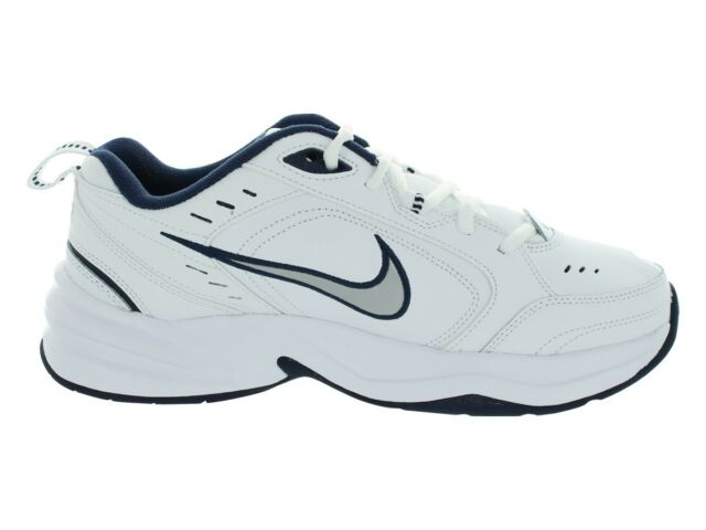NIKE Air Monarch Men's Athletic Sneakers White+Blue+Silver Walking Shoes 416355