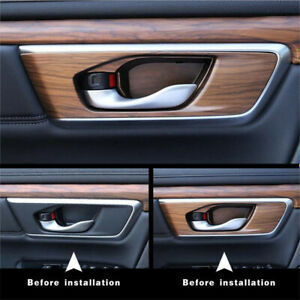 4x-Car-Auto-Interior-Door-Bowl-Panel-Cover-Trim-Peach-Wood-Grain-For-Honda-17-18