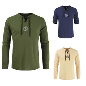 Men-Shirts-Solid-Colour-Shirts-Linen-Medieval-Viking-Embroidered-Shirts-M-IO