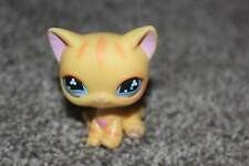 Littlest Pet Shop Yellow Orange Heart Kitty Cat LPS Toy Blue Clover Eyes RARE