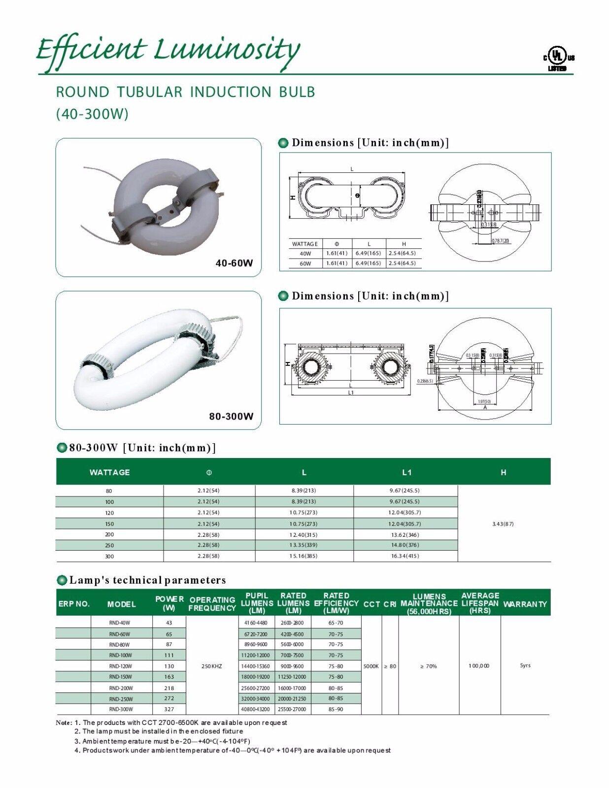 150W INDUCTION LAMP Circular Round Light 5000K 80CRI American GreenPower E2-150