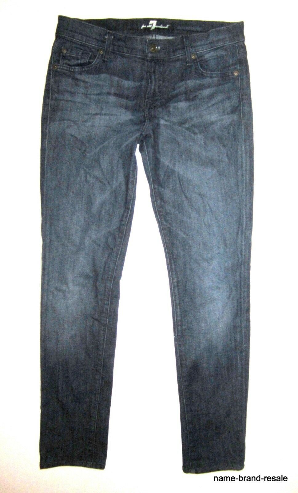 7 FOR ALL MANKIND ROXANNE Jeans Womens 28 x xxx  Skinny Slim Leg Dark Wash
