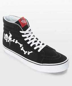 Details zu NEW WO BOX WOMEN'S 6.5 VANS SK8 HI PEANUTS SNOOPY BONES BLACK SKATE SHOES