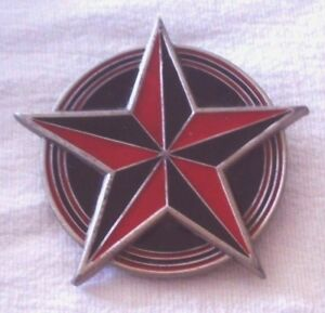 Red Black Nautical Star Circle Fine Pewter Belt Buckle Great