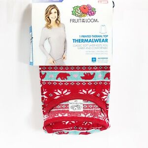 Fruit-of-the-Loom-Thermal-Women-s-Top-Red-Polar-Fair-Isle-Print-Size-Small-4-6