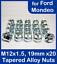 20x M12 x 1.5 pour Ford Mondeo 19 mm Hex ouvert alliage écrous de roue zinc