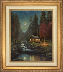 Details About Thomas Kinkade Away From It All 24 X 20 Le S N Canvas Gold Frame