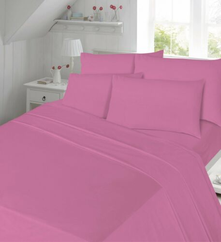 Plain Dyed Polly//cotton Flat Bed Sheet//Pillow cases Percale Bedding All Size