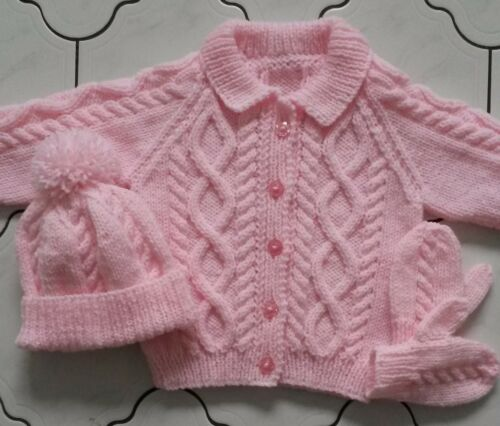 HAND KNITTED Aran Jacket// Cardigan Hat and Mitts Set Made to Order Various Sizes