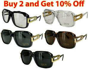Black-Clear-frame-Sun-Glasses-Gazelle-Style-Gold-Metal-Accents-Dmc-Square