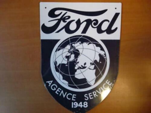 PB59F PLAQUE PUBLICITAIRE tolée age d/'or Automobile FORD Agence Service 1948