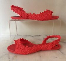 Melissa FLOWER Isabela Capeto Pop Orange Flat Jelly Sandals Size US 8 Vegan