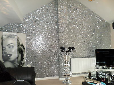 Glitter Wallpaper Premium Fabric Backed Sparkling Silver By