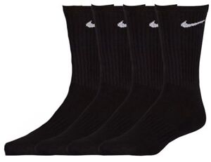 23c905934ea  40 NIKE Men`s 4 Pairs Pack BLACK COTTON CUSHIONED Crew Athletic ...