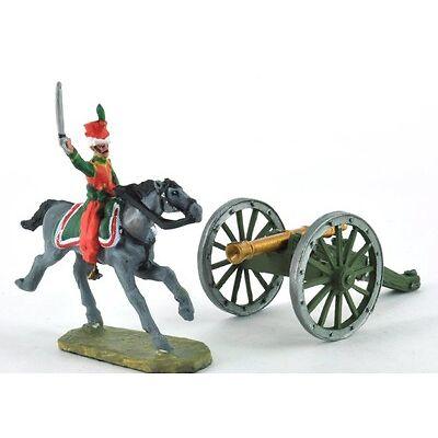 Zinnfigur Soldat Napoleonisch Kriege Austerlitz Reiter Kavallerie+Kanone DAU020