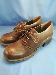 EC-Euroclub-PUNK-RETRO-Brown-Size-6-Leather-Chunky-Heel-Oxford-Shoes