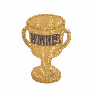 winners gold trophy embroidered motif iron or sew on patch appliqué embroidery