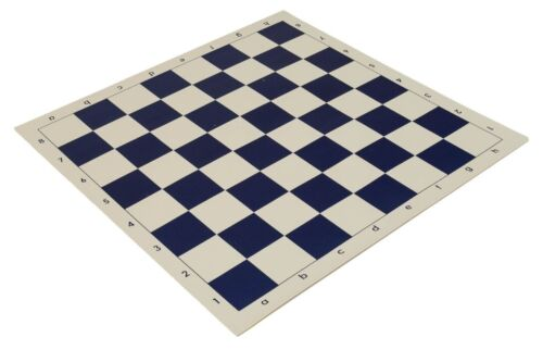 """20"""" Vinyl Chess Board –Meets Tournament Standards 2.25 Inch Squares Navy Blue"""