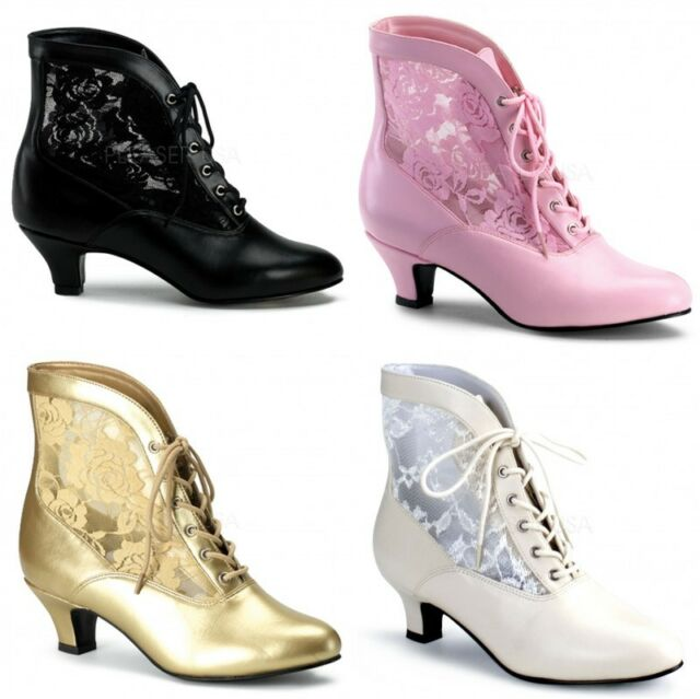 PLEASER FUNTASMA DAME-05 LADIES VICTORIAN STYLE ANKLE BOOTS