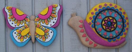 Garden Path Stepping Stone Plaque Murale Paire De 2 couleur escargot et papillon Neuf