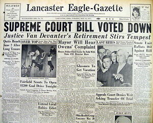 2 1937 newspapers PRESIDENT ROOSEVELT fails inATTEMPT to EXPAND US SUPREME COURT