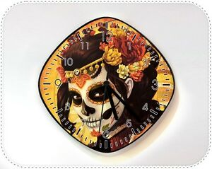 Image Is Loading Catrina Calavera Sugar Skull Wall Clock Day Of