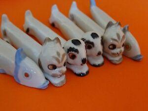 6 Anciens Portes Couteaux Porcelaine Art Deco Animaux Dans Le Gout De Sandoz