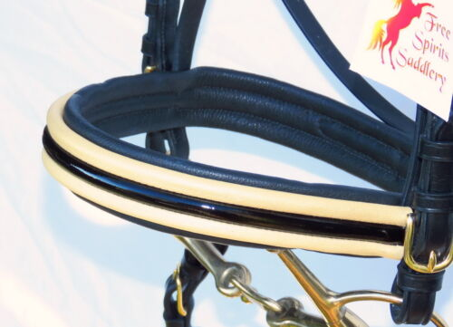 FSS PATENT Gloss Padded PEARL GOLD BAND CAVESSON Brass TWIN BUCKLE Noseband NEW