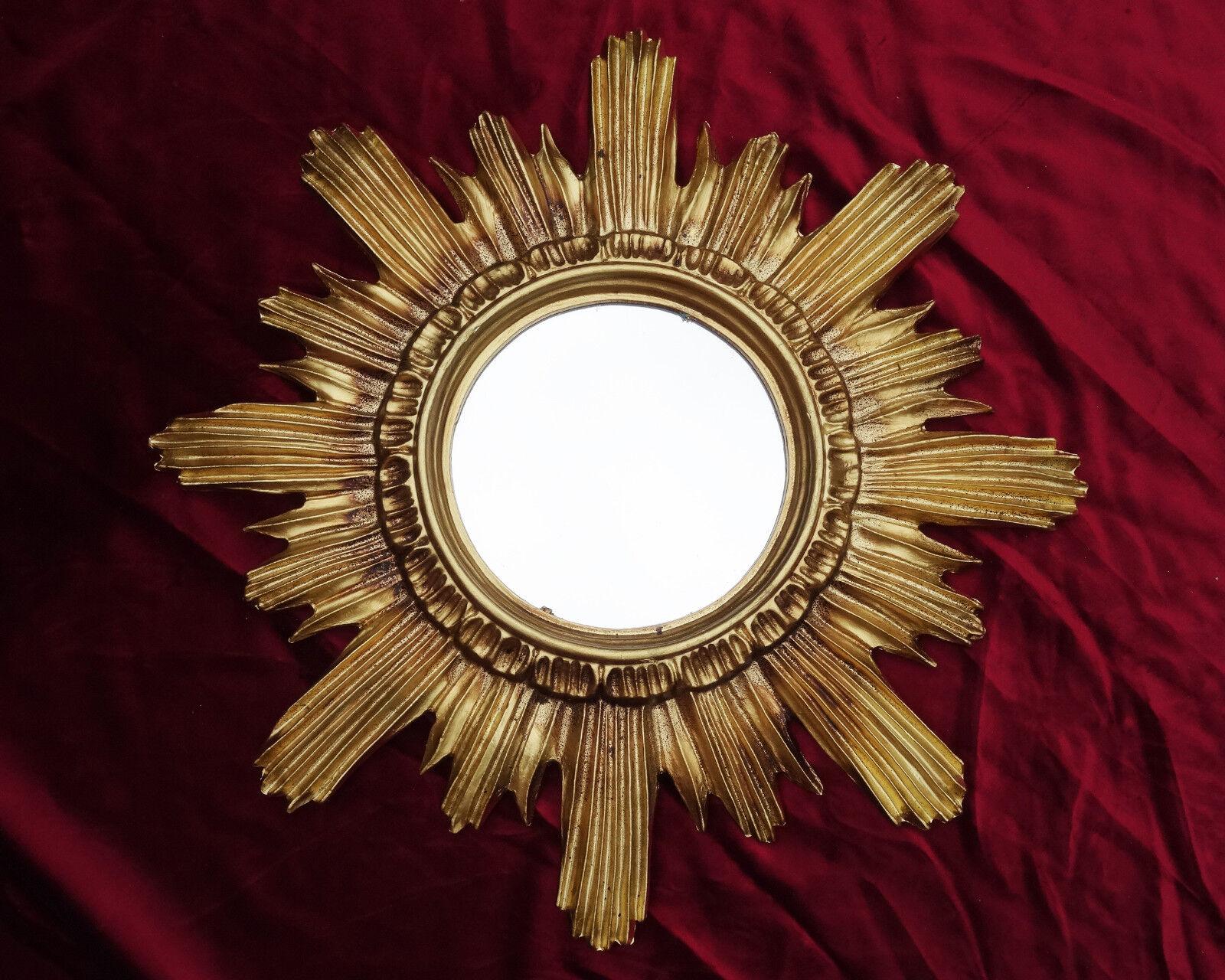 barock antik wandspiegel sonne in gold 42x42 cm rund runder repro spiegel sun 14 ebay. Black Bedroom Furniture Sets. Home Design Ideas