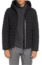 $1900 MACKAGE Men BLACK DOWN HOOD AUTHENTIC quilted LEATHER  JACKET COAT SIZE 42