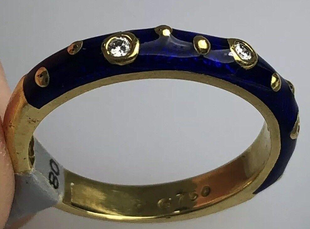 Hidalgo bluee Enamel Ring With Diamonds (New) 18kt Yg Size 6.25  (50% OFF  )