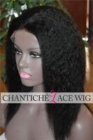 Italian Yaki Silk Top Brazilian Remy Human Hair Lace Front Wigs African American