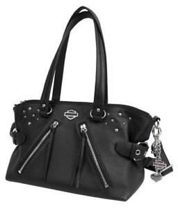 con tachas blk Harley satchel davidson para de negro mujer jinete Rd4918l Monedero cuero XqtSwXg
