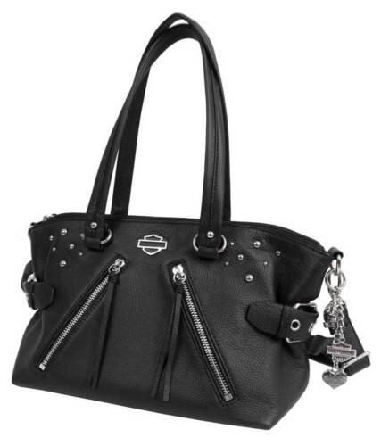 Rd4918l negro tachas blk jinete con de davidson mujer cuero Monedero satchel para Harley 1qwvRwPx