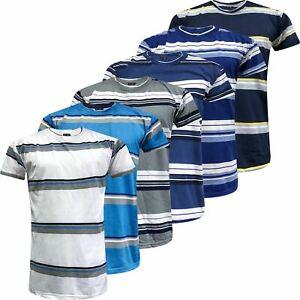 New-Mens-Striped-Top-Shirt-Summer-Holiday-Fancy-Short-Sleeve-Stripe-T-Shirt-Tee