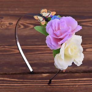 Haarreif Blumen Kranz Schmetterling Ivory Lila Grun Hochzeit