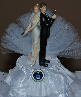 Super Sexy Air Force Bride and Groom with Gun Cute Funny Wedding Cake Topper