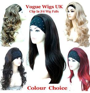 Ladies-3-4-Wig-Half-Wig-Clip-In-Hair-Piece-Half-Wig-Black-Brown-Blonde-Wigs