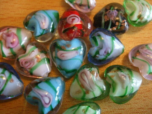LAMPWORK HEARTS sparkle flower core beads x15 15mm UK seller  A15