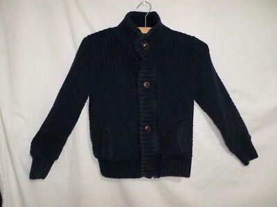 Appena Next Ragazzi Blu Navy Manica Lunga Knit Cardigan 100% Cotone Taglia 7-8 Anni-