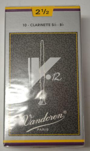 New Sealed Box of Vandoren V12 Bb Clarinet Reeds Strength #2.5 Item #CR1925