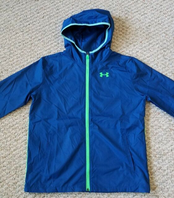 f91f1466a Under Armour New with Tags Youth Blue w/Green Packable Hooded Windbreaker  Jacket