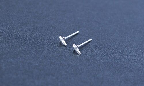 Shiny Polished Solid S925 Sterling Silver Cute Tiny Cross Stud Earrings Gift