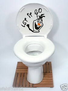 Olaf Frozen Disney Style Toilet Seat Wall Sticker Vinyl Art Bathroom Decals N